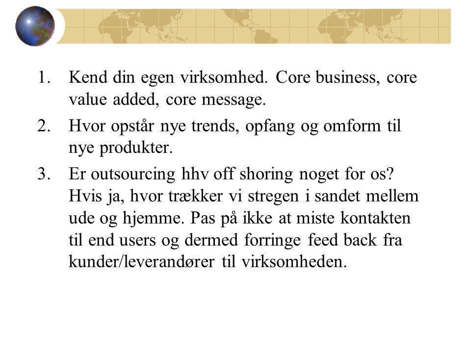 1.Kend din egen virksomhed. Core business, core value added, core message.