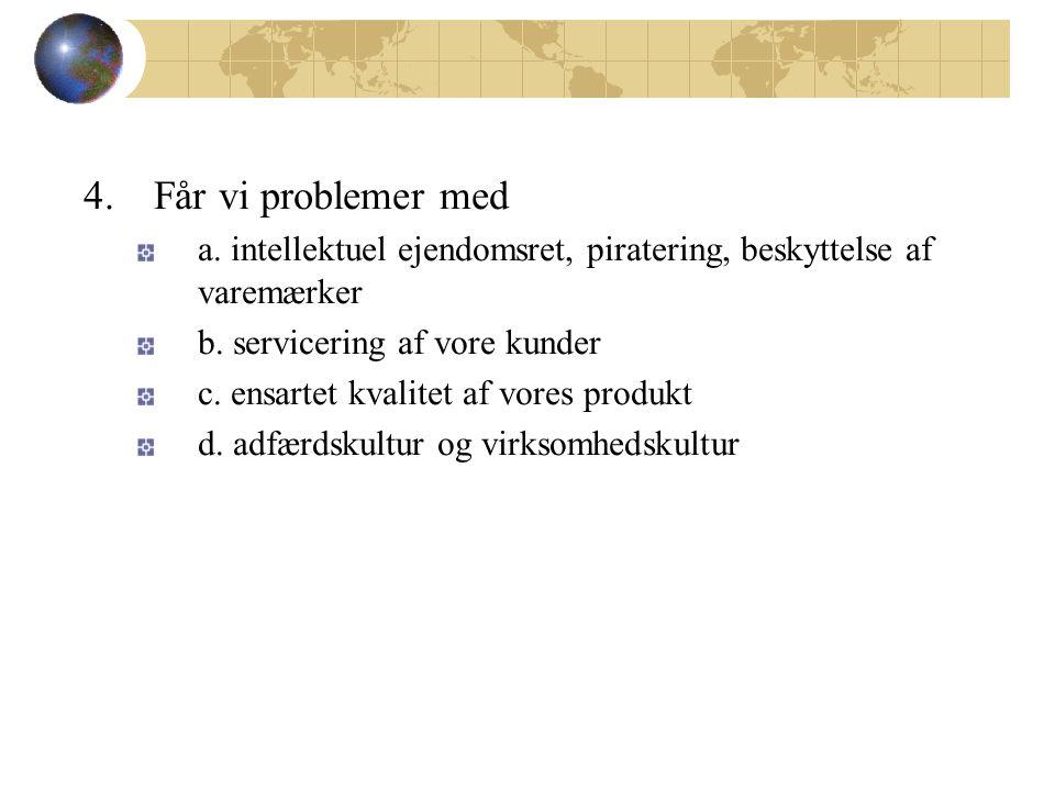 4. Får vi problemer med a. intellektuel ejendomsret, piratering, beskyttelse af varemærker b.