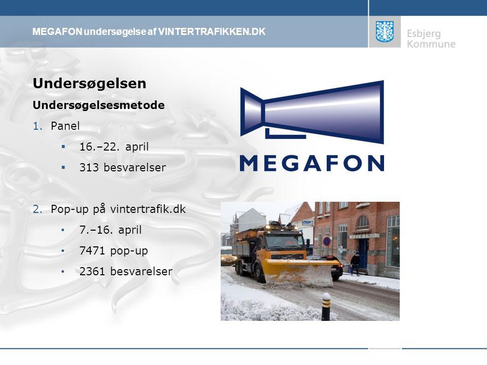 MEGAFON undersøgelse af VINTERTRAFIKKEN.DK Undersøgelsen Undersøgelsesmetode 1.Panel  16.–22.