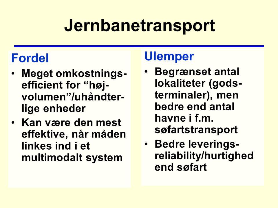 Jernbanetransport Fordel Meget omkostnings- efficient for høj- volumen /uhåndter- lige enheder Kan være den mest effektive, når måden linkes ind i et multimodalt system Ulemper Begrænset antal lokaliteter (gods- terminaler), men bedre end antal havne i f.m.