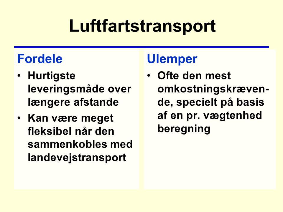 Luftfartstransport Fordele Hurtigste leveringsmåde over længere afstande Kan være meget fleksibel når den sammenkobles med landevejstransport Ulemper Ofte den mest omkostningskræven- de, specielt på basis af en pr.