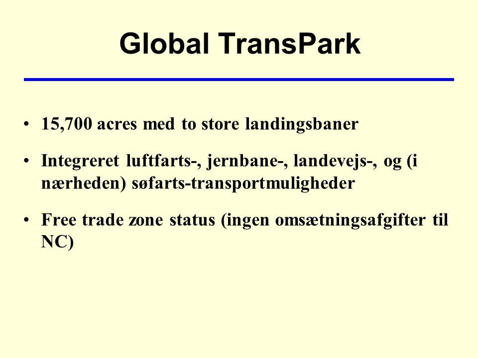 Global TransPark 15,700 acres med to store landingsbaner Integreret luftfarts-, jernbane-, landevejs-, og (i nærheden) søfarts-transportmuligheder Free trade zone status (ingen omsætningsafgifter til NC)