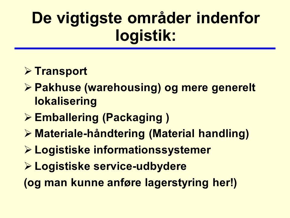 De vigtigste områder indenfor logistik:  Transport  Pakhuse (warehousing) og mere generelt lokalisering  Emballering (Packaging )  Materiale-håndtering (Material handling)  Logistiske informationssystemer  Logistiske service-udbydere (og man kunne anføre lagerstyring her!)