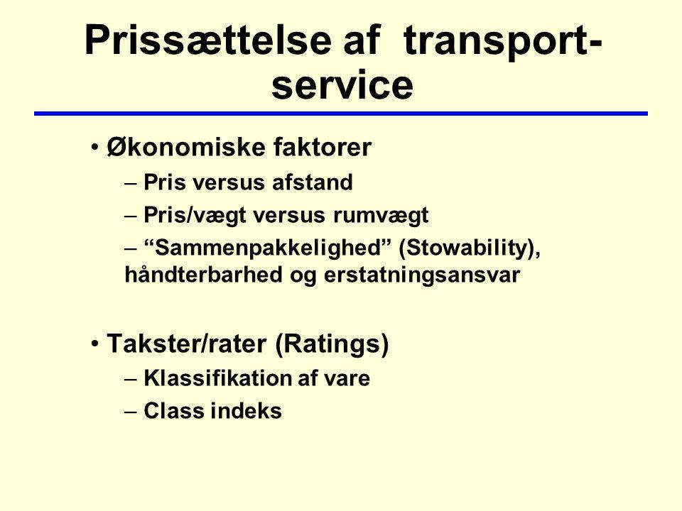 Prissættelse af transport- service Økonomiske faktorer – Pris versus afstand – Pris/vægt versus rumvægt – Sammenpakkelighed (Stowability), håndterbarhed og erstatningsansvar Takster/rater (Ratings) – Klassifikation af vare – Class indeks