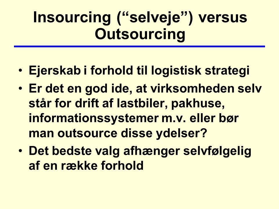 Insourcing ( selveje ) versus Outsourcing Ejerskab i forhold til logistisk strategi Er det en god ide, at virksomheden selv står for drift af lastbiler, pakhuse, informationssystemer m.v.