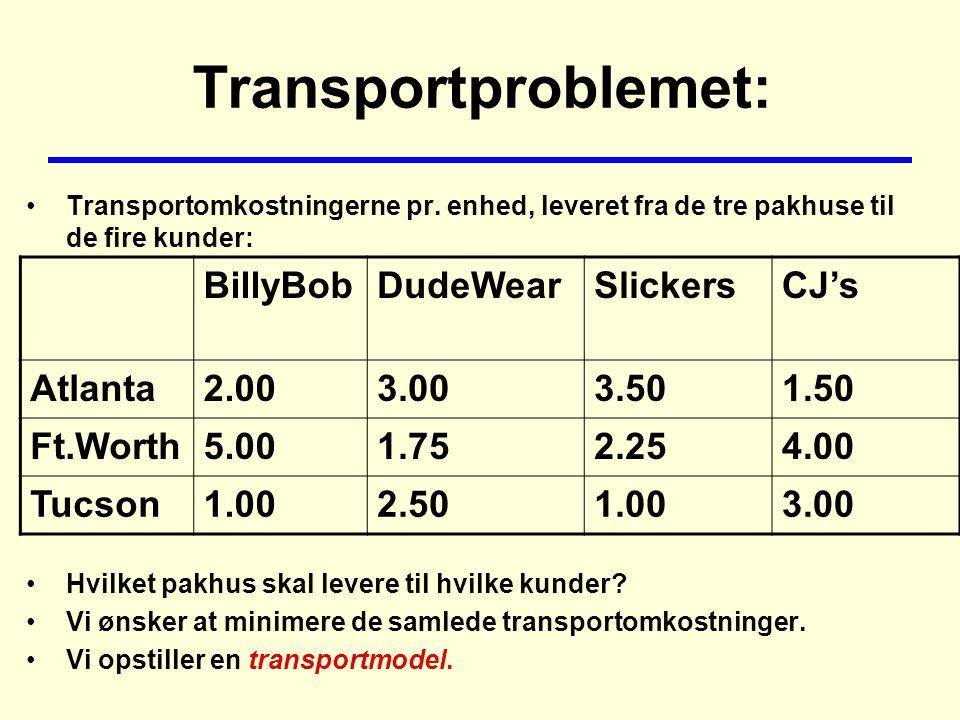 Transportproblemet: Transportomkostningerne pr.
