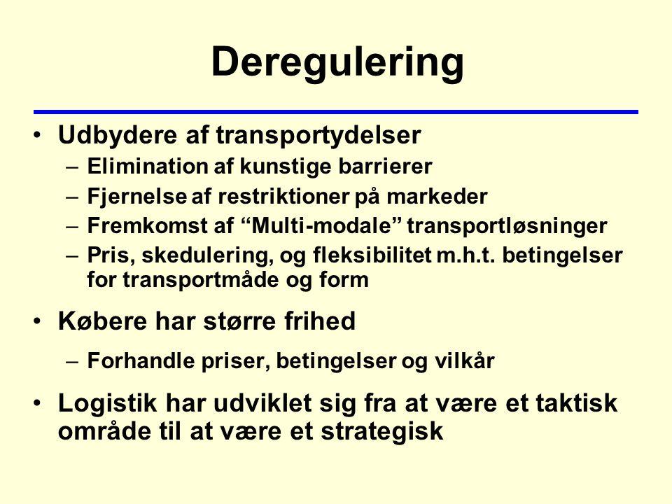 Deregulering Udbydere af transportydelser –Elimination af kunstige barrierer –Fjernelse af restriktioner på markeder –Fremkomst af Multi-modale transportløsninger –Pris, skedulering, og fleksibilitet m.h.t.