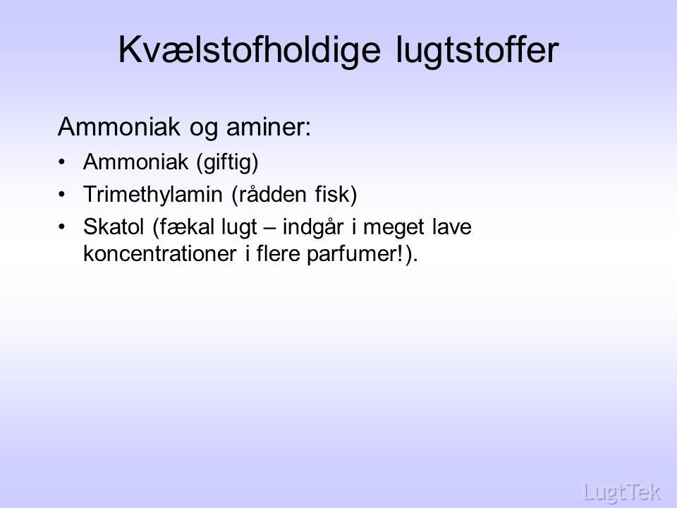 Kvælstofholdige lugtstoffer Ammoniak og aminer: Ammoniak (giftig) Trimethylamin (rådden fisk) Skatol (fækal lugt – indgår i meget lave koncentrationer i flere parfumer!).