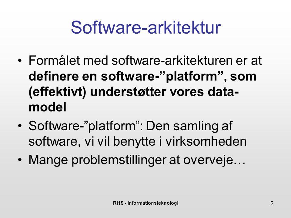 RHS - Informationsteknologi 3 Software-arkitektur Hvor speciel er vores virksomhed.