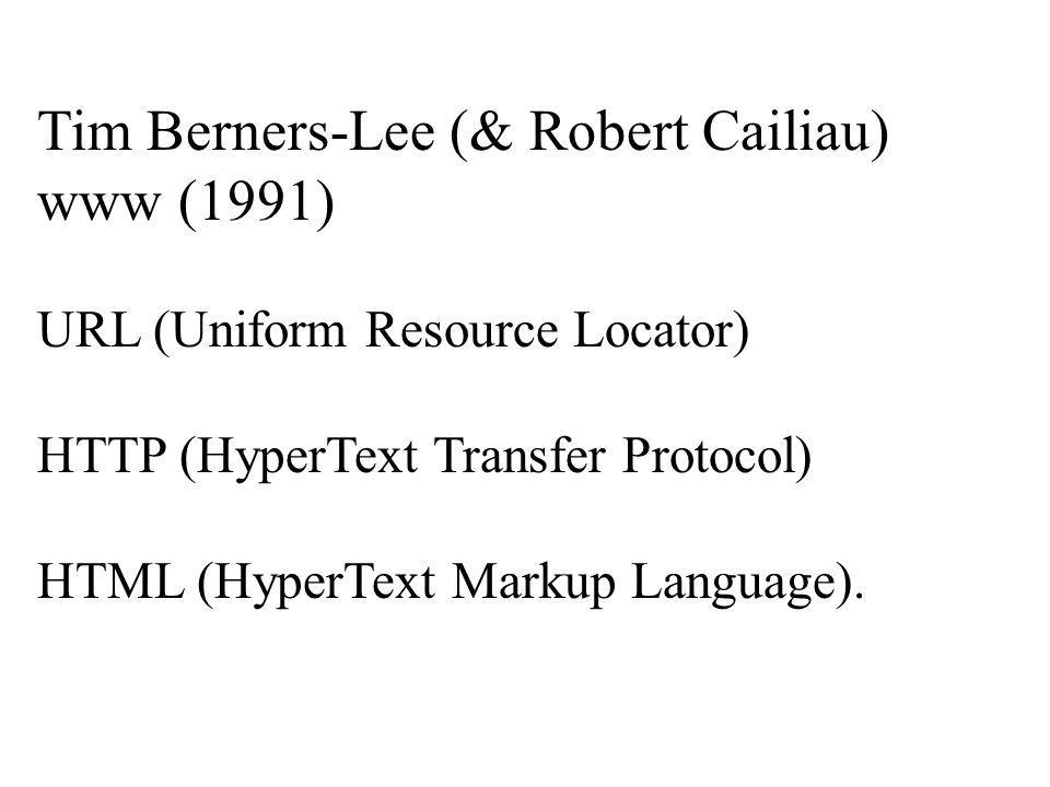 Tim Berners-Lee (& Robert Cailiau) www (1991) URL (Uniform Resource Locator) HTTP (HyperText Transfer Protocol) HTML (HyperText Markup Language).