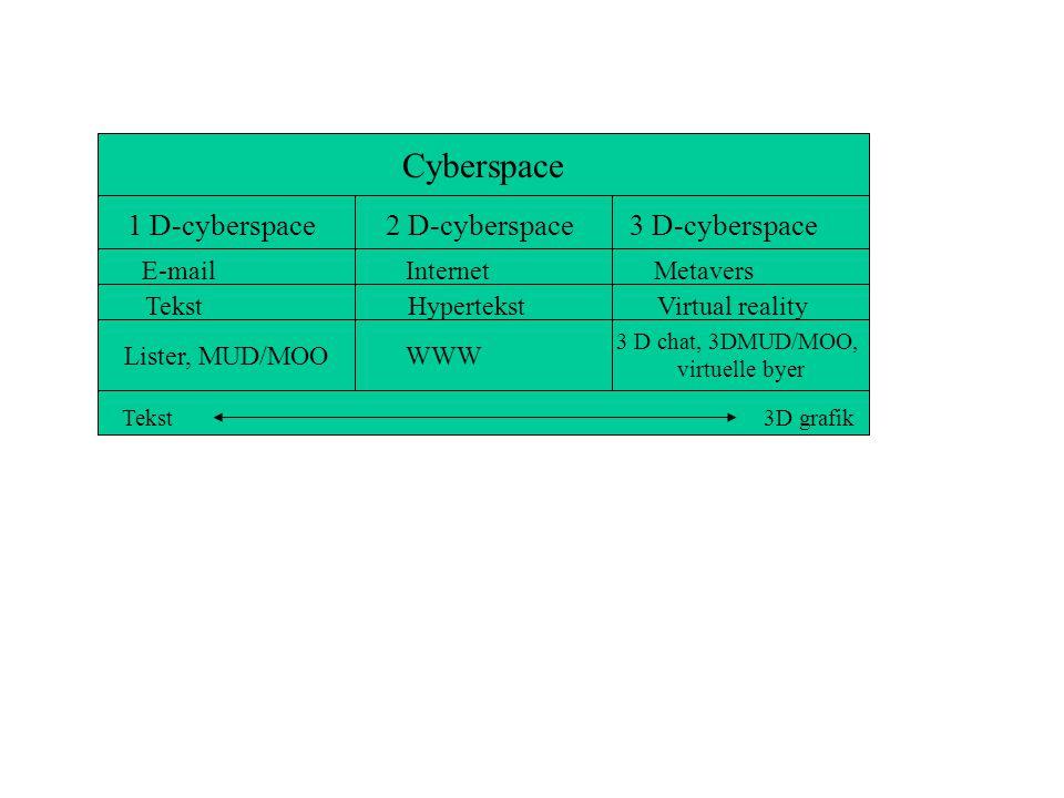 Cyberspace 1 D-cyberspace 2 D-cyberspace 3 D-cyberspace E-mail Lister, MUD/MOO Tekst WWW Hypertekst 3 D chat, 3DMUD/MOO, virtuelle byer Internet Virtual reality Metavers Tekst 3D grafik