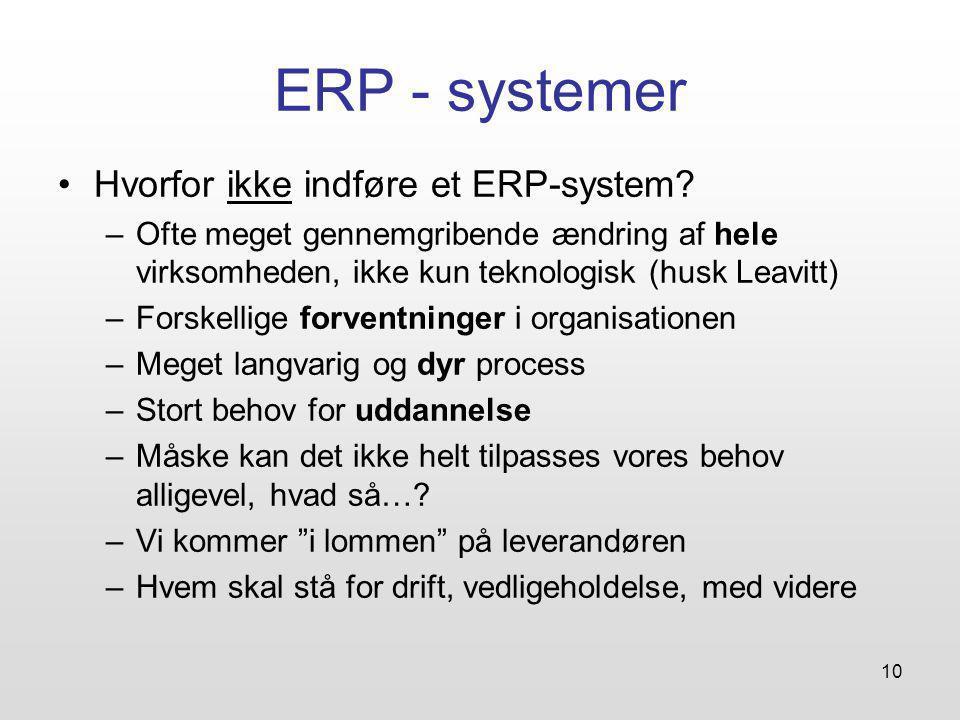 10 ERP - systemer Hvorfor ikke indføre et ERP-system.
