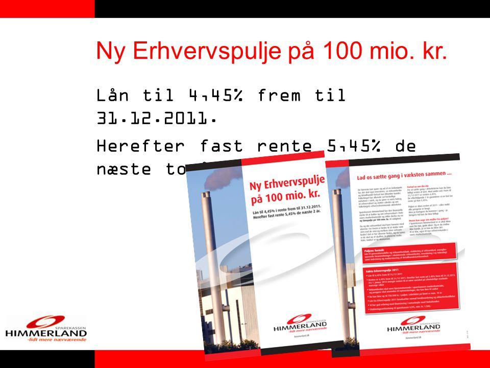 Ny Erhvervspulje på 100 mio. kr. Lån til 4,45% frem til 31.12.2011.