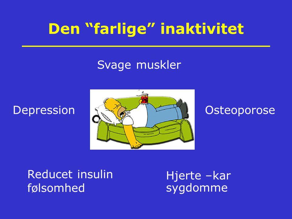 Den farlige inaktivitet Svage muskler OsteoporoseDepression Hjerte –kar sygdomme Reducet insulin følsomhed