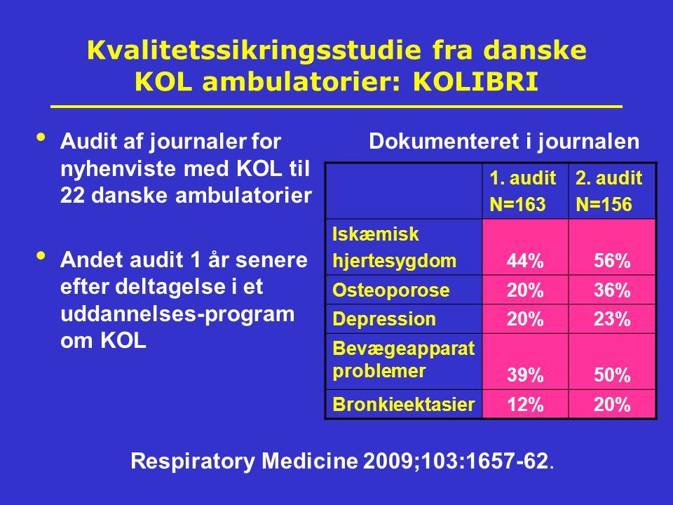 Kvalitetssikringsstudie fra danske KOL ambulatorier: KOLIBRI Audit af journaler for nyhenviste med KOL til 22 danske ambulatorier Andet audit 1 år senere efter deltagelse i et uddannelses-program om KOL Dokumenteret i journalen 1.