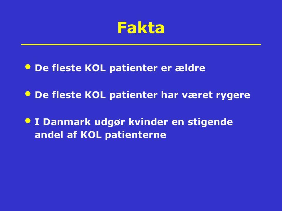 Fakta De fleste KOL patienter er ældre De fleste KOL patienter har været rygere I Danmark udgør kvinder en stigende andel af KOL patienterne All promote imortant comorbidities!