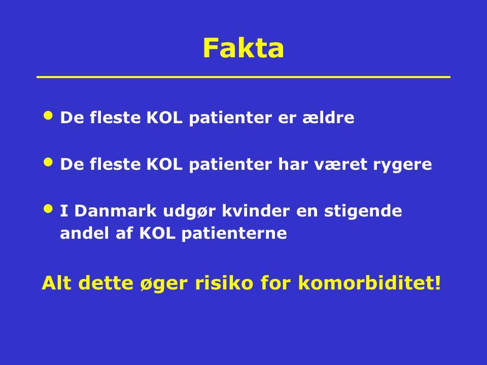 Fakta De fleste KOL patienter er ældre De fleste KOL patienter har været rygere I Danmark udgør kvinder en stigende andel af KOL patienterne Alt dette
