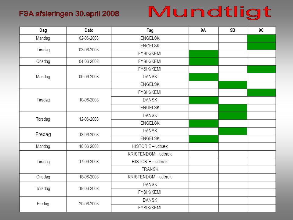 DagDatoFag9A9B9C Mandag02-06-2008ENGELSK Tirsdag03-06-2008 ENGELSK FYSIK/KEMI Onsdag04-06-2008FYSIK/KEMI Mandag09-06-2008 FYSIK/KEMI DANSK ENGELSK Tirsdag10-06-2008 FYSIK/KEMI DANSK ENGELSK Torsdag12-06-2008 DANSK ENGELSK Fredag 13-06-2008 DANSK ENGELSK Mandag16-06-2008HISTORIE – udtræk Tirsdag17-06-2008 KRISTENDOM – udtræk HISTORIE – udtræk FRANSK Onsdag18-06-2008KRISTENDOM – udtræk Torsdag19-06-2008 DANSK FYSIK/KEMI Fredag20-06-2008 DANSK FYSIK/KEMI
