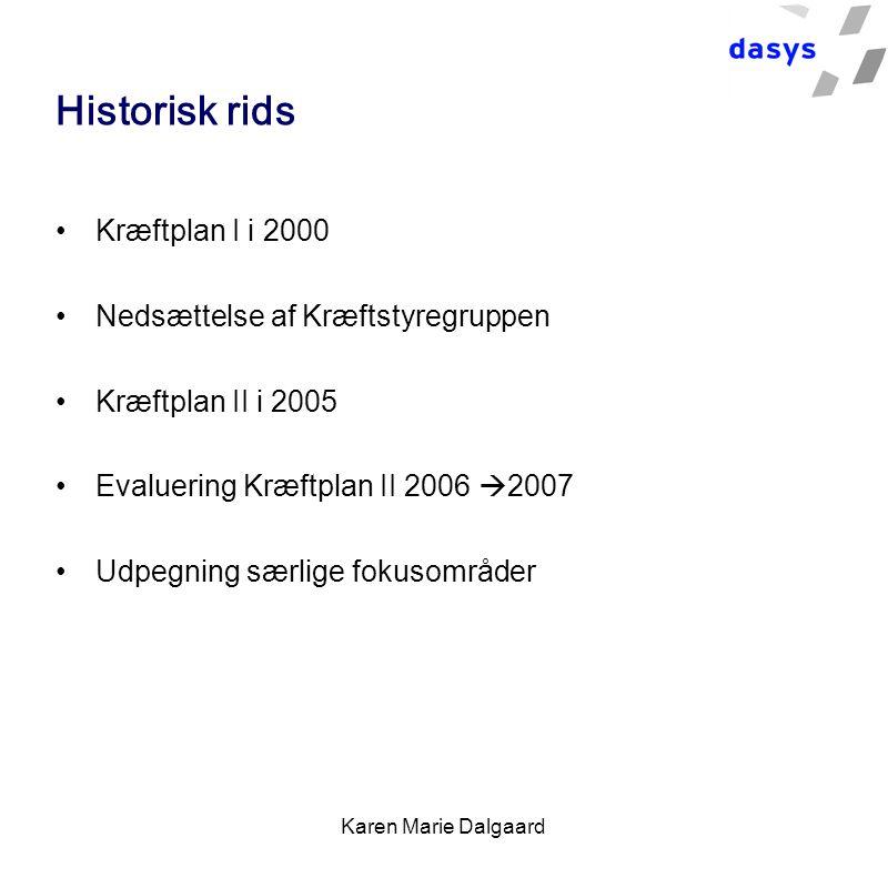 Karen Marie Dalgaard Historisk rids Kræftplan I i 2000 Nedsættelse af Kræftstyregruppen Kræftplan II i 2005 Evaluering Kræftplan II 2006  2007 Udpegning særlige fokusområder