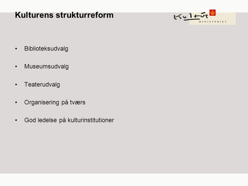 Kulturens strukturreform Biblioteksudvalg Museumsudvalg Teaterudvalg Organisering på tværs God ledelse på kulturinstitutioner