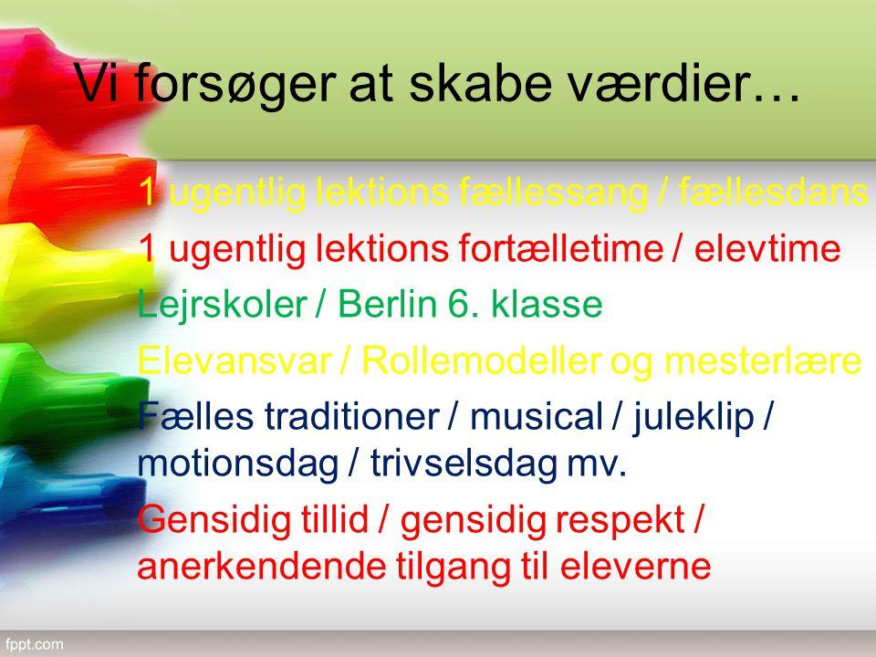 Vi forsøger at skabe værdier… 1 ugentlig lektions fællessang / fællesdans 1 ugentlig lektions fortælletime / elevtime Lejrskoler / Berlin 6.