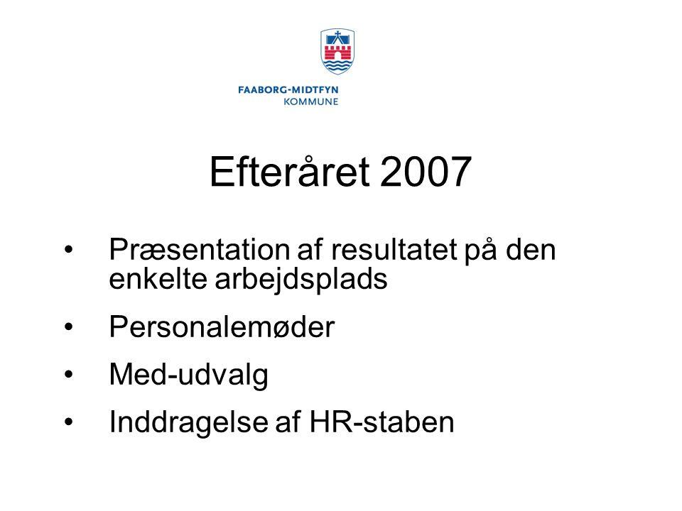 Efteråret 2007 Præsentation af resultatet på den enkelte arbejdsplads Personalemøder Med-udvalg Inddragelse af HR-staben