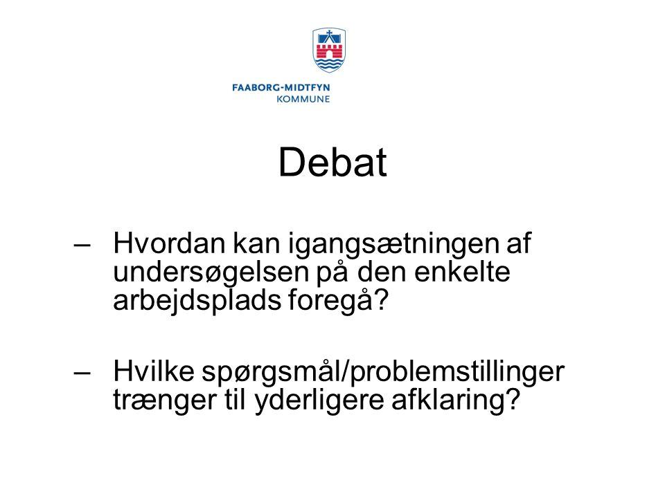 Debat –Hvordan kan igangsætningen af undersøgelsen på den enkelte arbejdsplads foregå.
