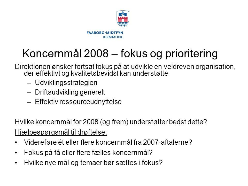 Koncernmål 2008 – fokus og prioritering Direktionen ønsker fortsat fokus på at udvikle en veldreven organisation, der effektivt og kvalitetsbevidst kan understøtte –Udviklingsstrategien –Driftsudvikling generelt –Effektiv ressourceudnyttelse Hvilke koncernmål for 2008 (og frem) understøtter bedst dette.