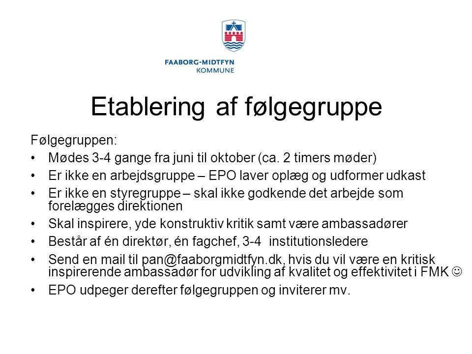 Etablering af følgegruppe Følgegruppen: Mødes 3-4 gange fra juni til oktober (ca.