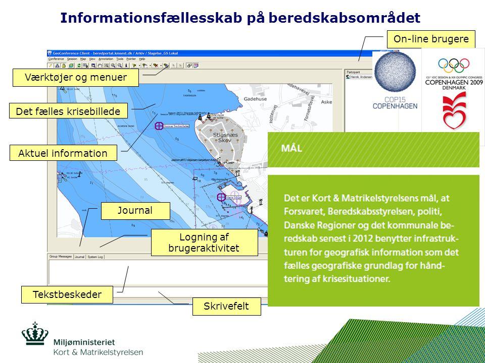 Det fælles krisebillede Værktøjer og menuer On-line brugere Datalag Tekstbeskeder Logning af brugeraktivitet Information om datalag Skrivefelt Aktuel information Journal Informationsfællesskab på beredskabsområdet