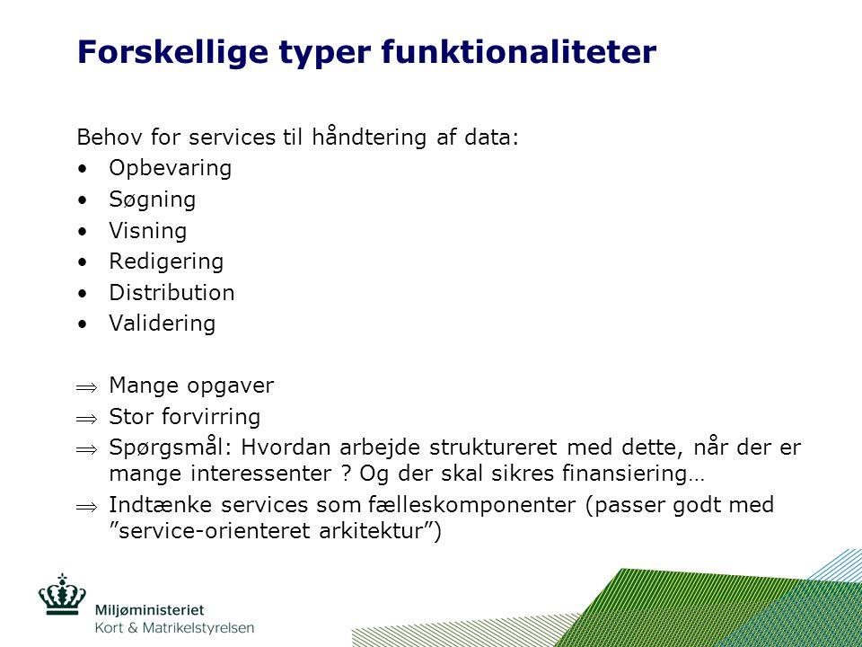 Forskellige typer funktionaliteter Behov for services til håndtering af data: Opbevaring Søgning Visning Redigering Distribution Validering Mange opgaver Stor forvirring Spørgsmål: Hvordan arbejde struktureret med dette, når der er mange interessenter .