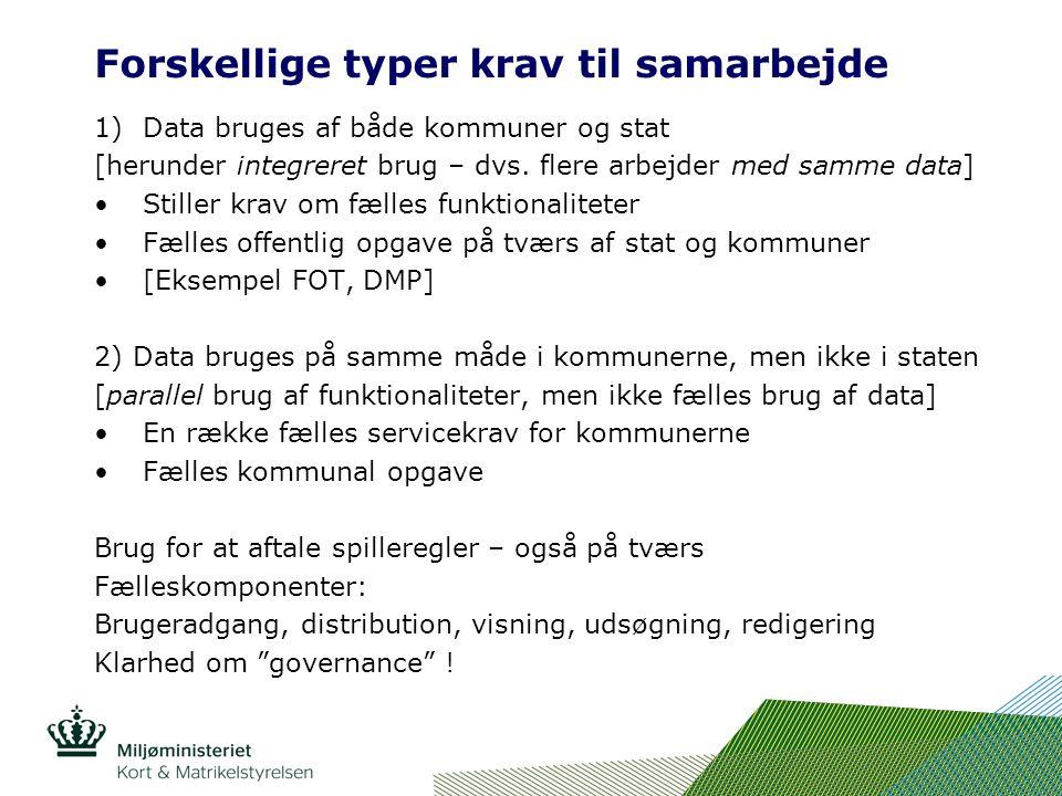 Forskellige typer krav til samarbejde 1)Data bruges af både kommuner og stat [herunder integreret brug – dvs.
