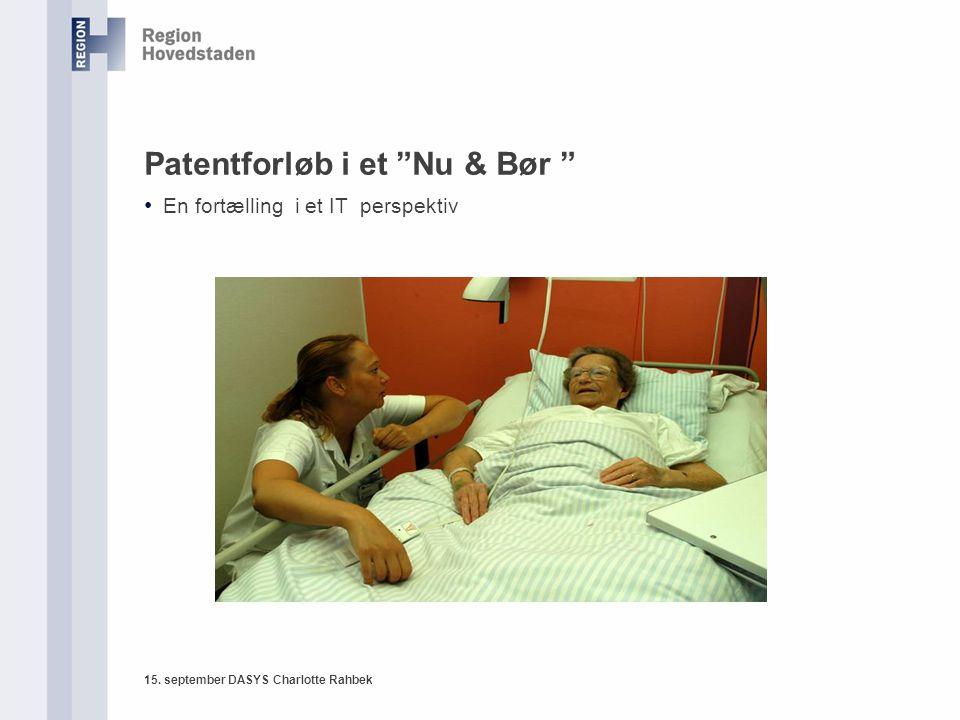 15. september DASYS Charlotte Rahbek Patentforløb i et Nu & Bør En fortælling i et IT perspektiv