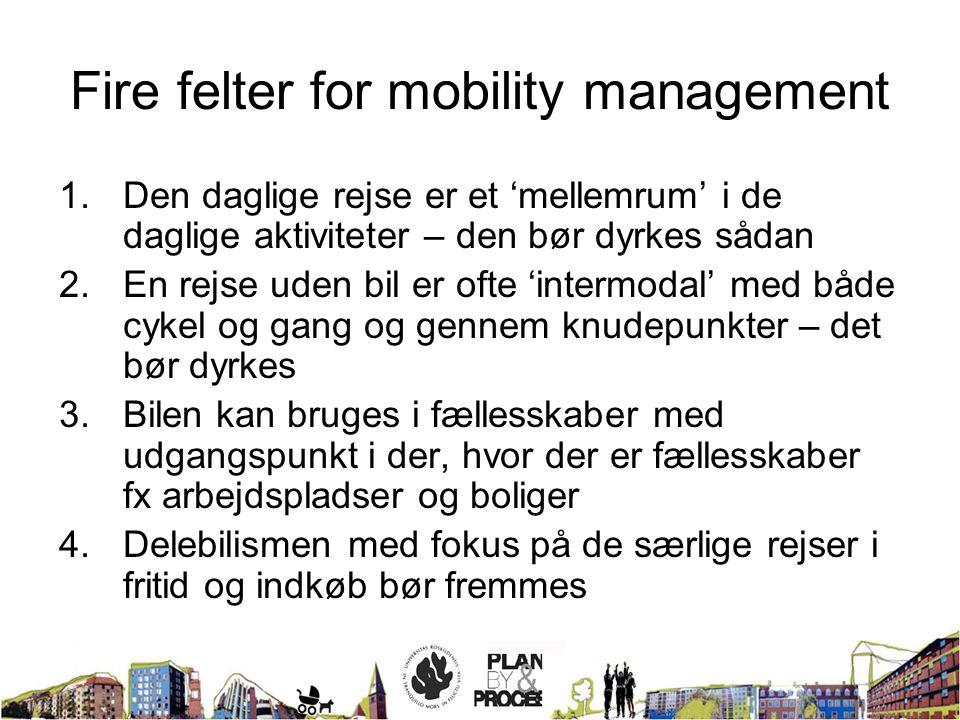 Fire felter for mobility management 1.Den daglige rejse er et 'mellemrum' i de daglige aktiviteter – den bør dyrkes sådan 2.En rejse uden bil er ofte 'intermodal' med både cykel og gang og gennem knudepunkter – det bør dyrkes 3.Bilen kan bruges i fællesskaber med udgangspunkt i der, hvor der er fællesskaber fx arbejdspladser og boliger 4.Delebilismen med fokus på de særlige rejser i fritid og indkøb bør fremmes