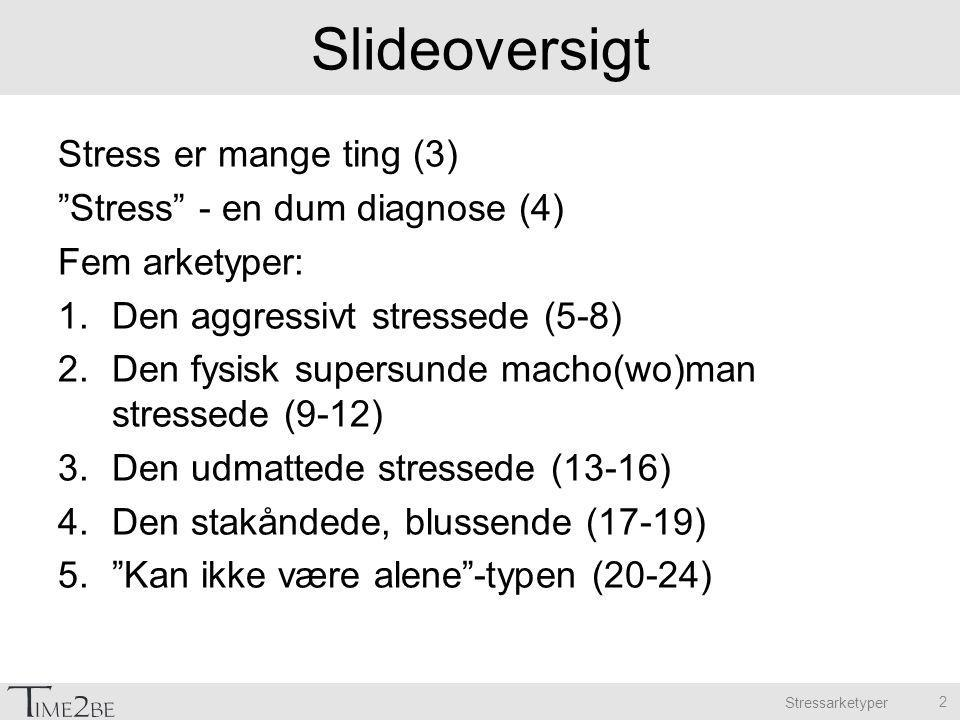 Slideoversigt Stress er mange ting (3) Stress - en dum diagnose (4) Fem arketyper: 1.Den aggressivt stressede (5-8) 2.Den fysisk supersunde macho(wo)man stressede (9-12) 3.Den udmattede stressede (13-16) 4.Den stakåndede, blussende (17-19) 5. Kan ikke være alene -typen (20-24) 2
