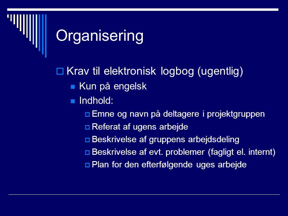 Organisering  Krav til elektronisk logbog (ugentlig) Kun på engelsk Indhold:  Emne og navn på deltagere i projektgruppen  Referat af ugens arbejde  Beskrivelse af gruppens arbejdsdeling  Beskrivelse af evt.