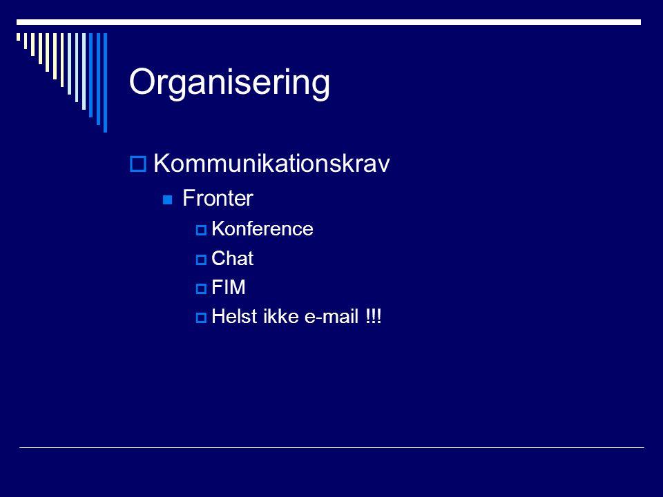 Organisering  Kommunikationskrav Fronter  Konference  Chat  FIM  Helst ikke e-mail !!!