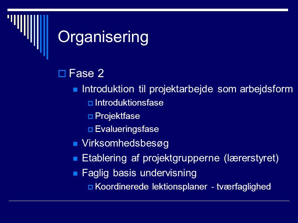 Organisering  Fase 2 Introduktion til projektarbejde som arbejdsform  Introduktionsfase  Projektfase  Evalueringsfase Virksomhedsbesøg Etablering af projektgrupperne (lærerstyret) Faglig basis undervisning  Koordinerede lektionsplaner - tværfaglighed