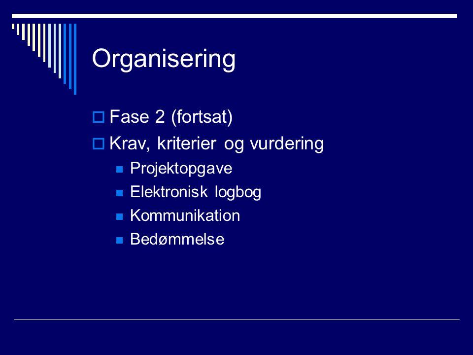 Organisering  Fase 2 (fortsat)  Krav, kriterier og vurdering Projektopgave Elektronisk logbog Kommunikation Bedømmelse