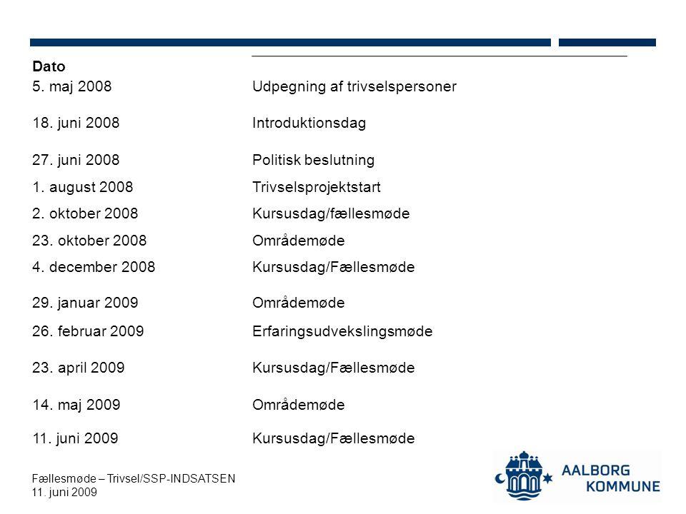 Fællesmøde – Trivsel/SSP-INDSATSEN 11. juni 2009 Dato 5.