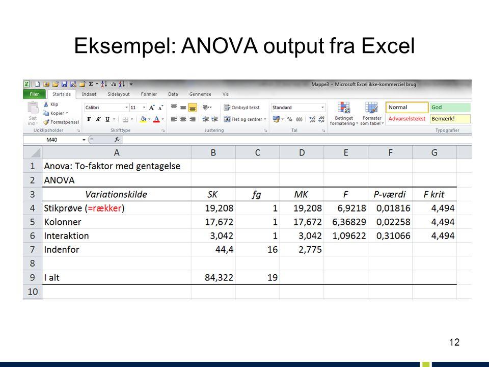 12 Eksempel: ANOVA output fra Excel