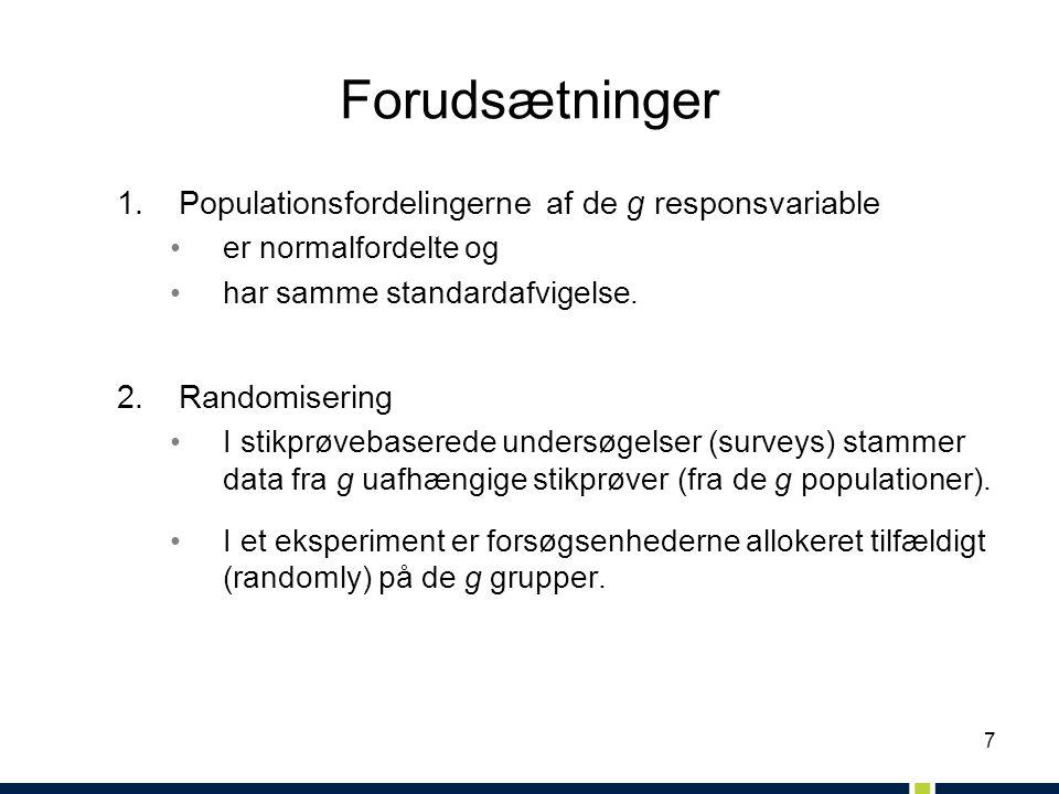 7 Forudsætninger 1.Populationsfordelingerne af de g responsvariable er normalfordelte og har samme standardafvigelse.