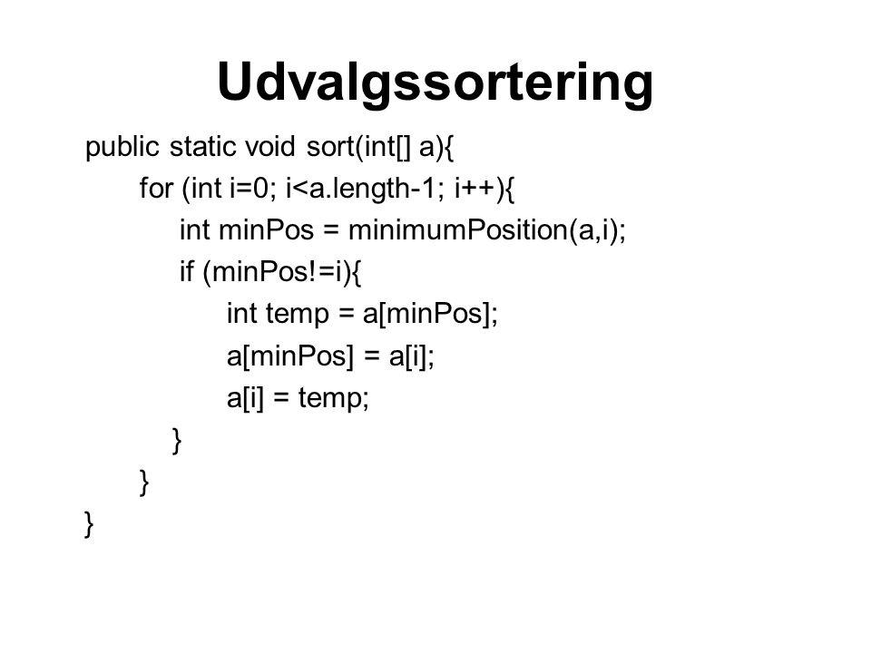 Udvalgssortering public static void sort(int[] a){ for (int i=0; i<a.length-1; i++){ int minPos = minimumPosition(a,i); if (minPos!=i){ int temp = a[minPos]; a[minPos] = a[i]; a[i] = temp; }