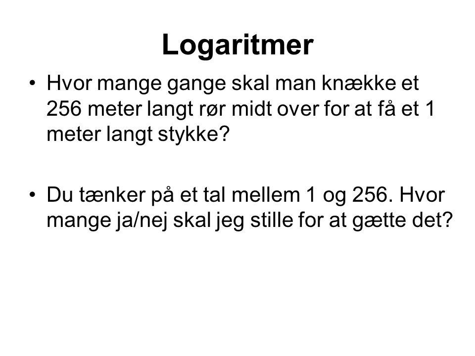 Logaritmer Hvor mange gange skal man knække et 256 meter langt rør midt over for at få et 1 meter langt stykke.