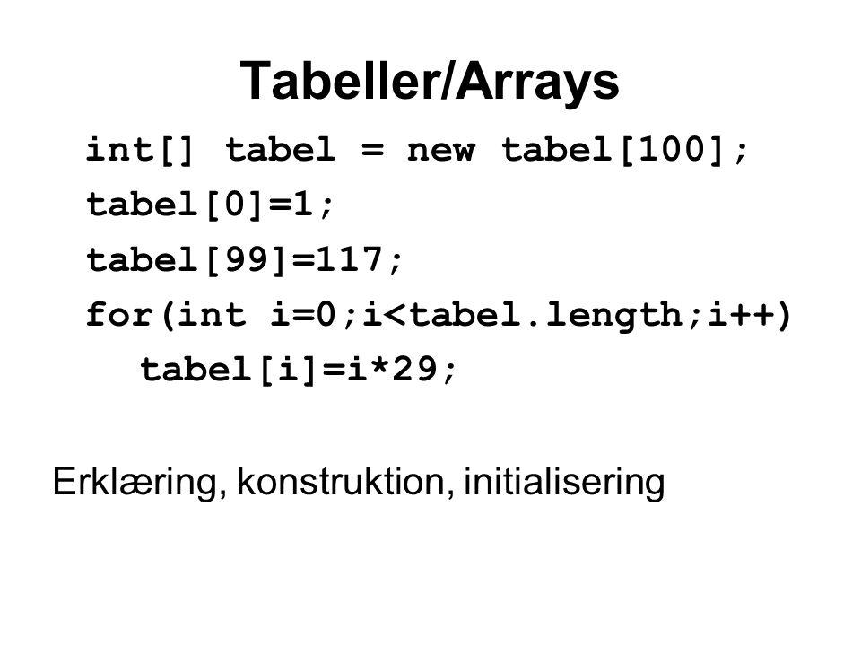 Tabeller/Arrays int[] tabel = new tabel[100]; tabel[0]=1; tabel[99]=117; for(int i=0;i<tabel.length;i++) tabel[i]=i*29; Erklæring, konstruktion, initialisering