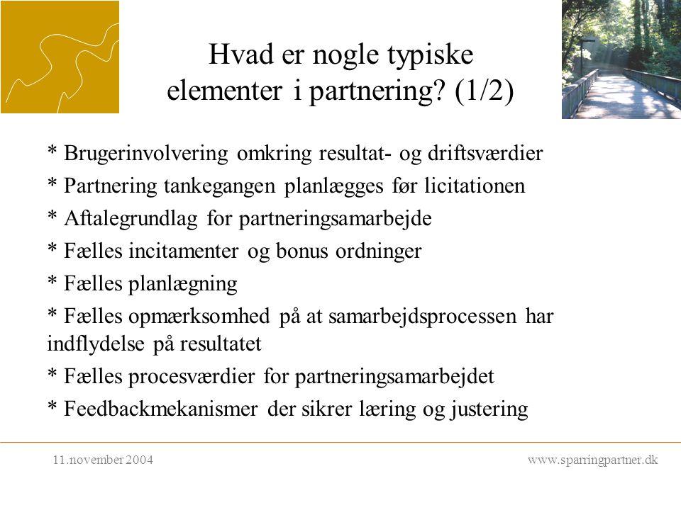 Hvad er nogle typiske elementer i partnering.