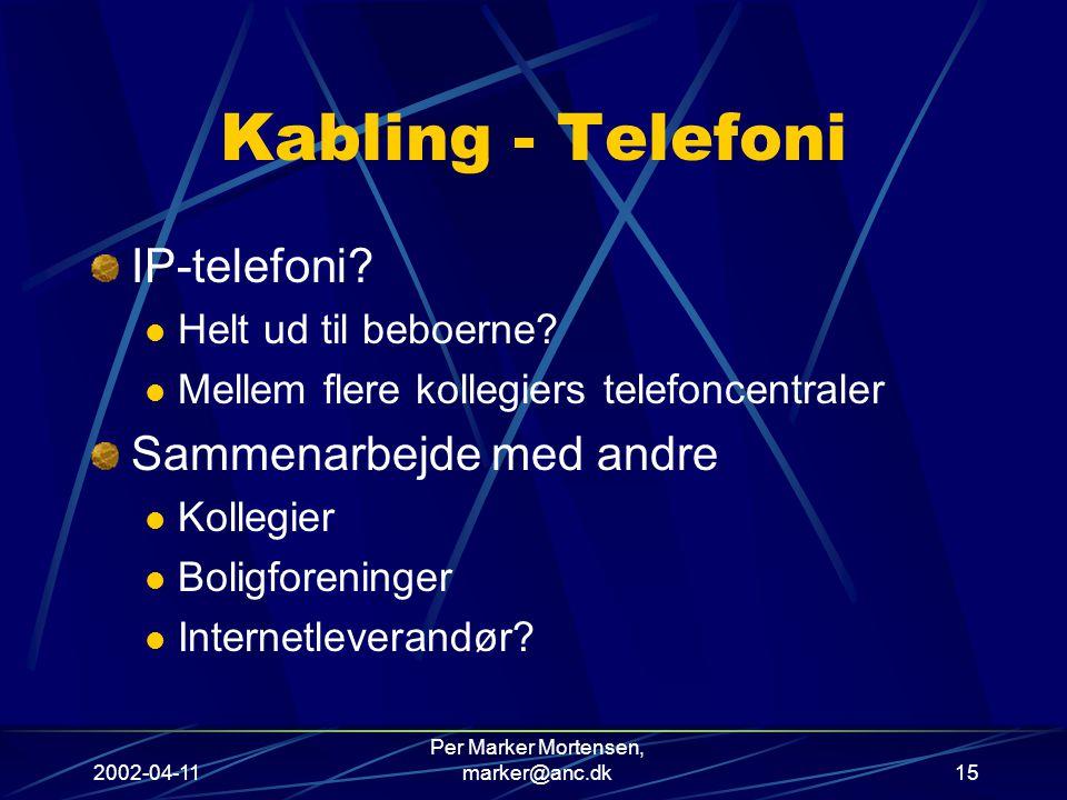 2002-04-11 Per Marker Mortensen, marker@anc.dk15 Kabling - Telefoni IP-telefoni.