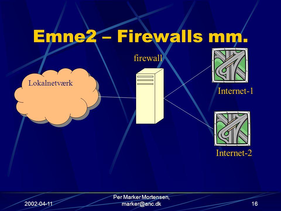 2002-04-11 Per Marker Mortensen, marker@anc.dk16 Emne2 – Firewalls mm.