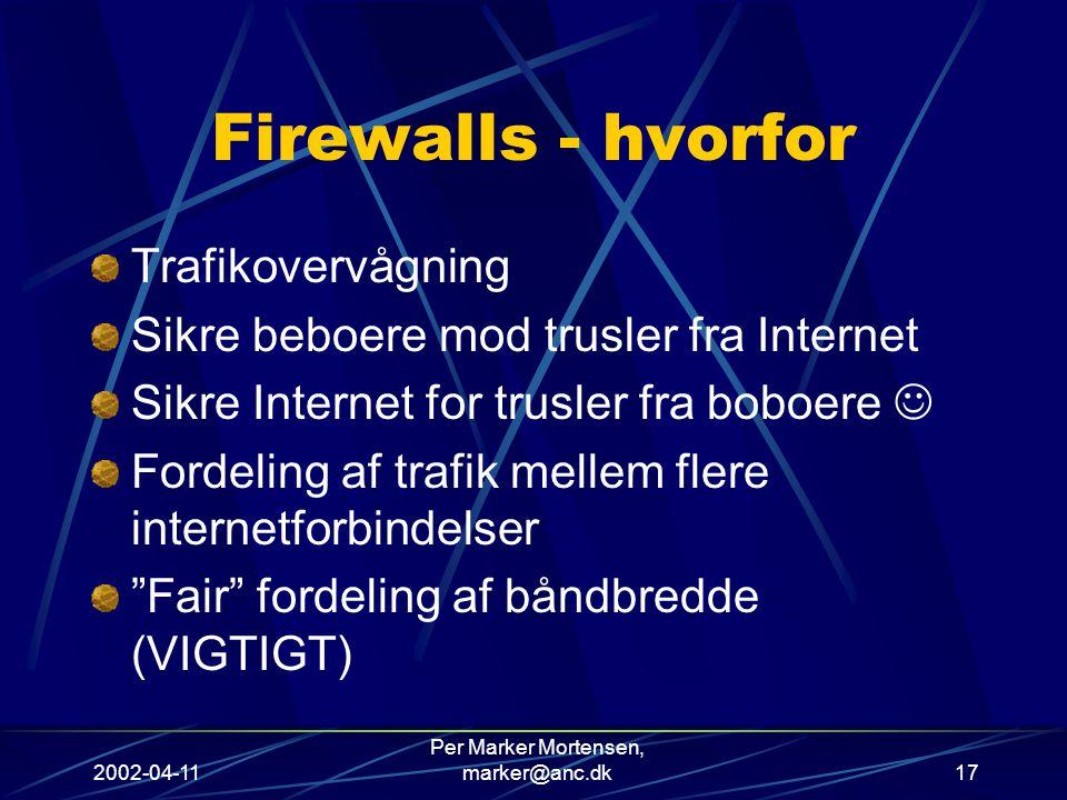 2002-04-11 Per Marker Mortensen, marker@anc.dk17 Firewalls - hvorfor Trafikovervågning Sikre beboere mod trusler fra Internet Sikre Internet for trusler fra boboere Fordeling af trafik mellem flere internetforbindelser Fair fordeling af båndbredde (VIGTIGT)