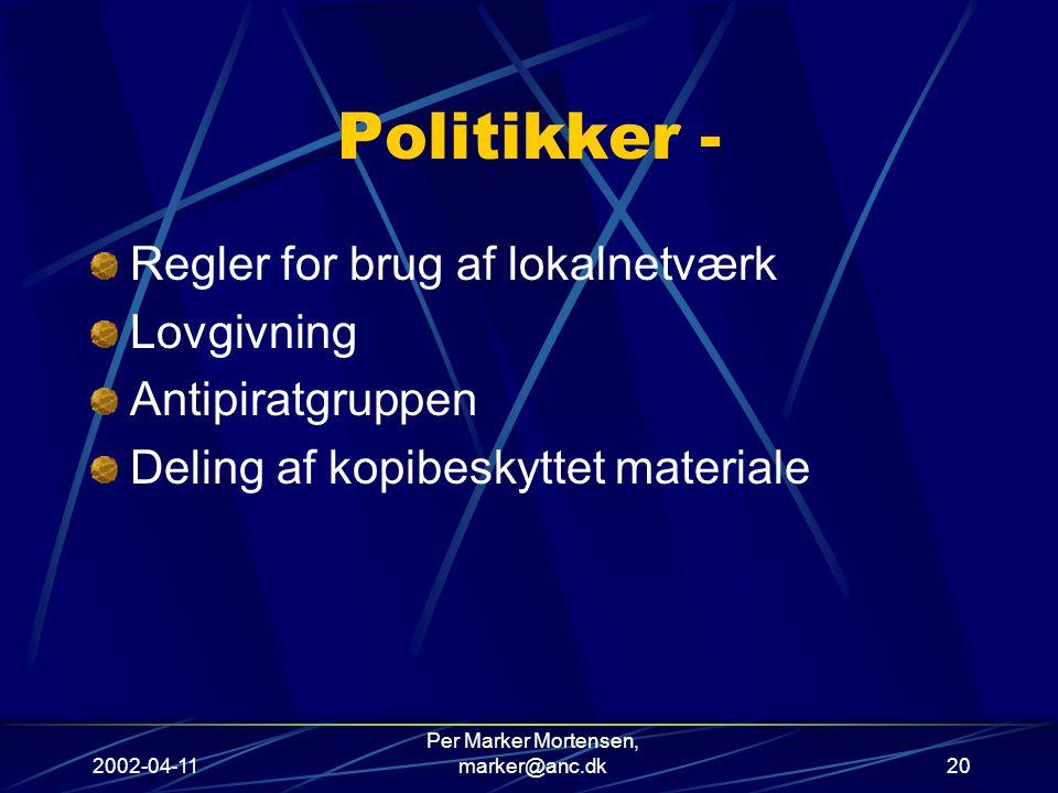 2002-04-11 Per Marker Mortensen, marker@anc.dk20 Politikker - Regler for brug af lokalnetværk Lovgivning Antipiratgruppen Deling af kopibeskyttet materiale